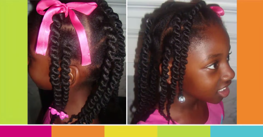African Box Braids styles For Kids Using Sewing Weave Thread - Children's Natural Hairstyles
