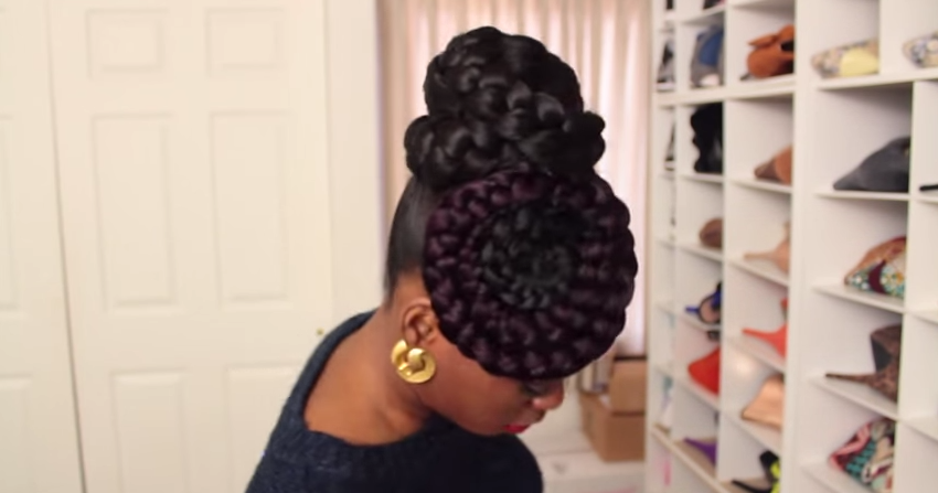 Pics Of Double Rope Bun Updo For Black Women ...