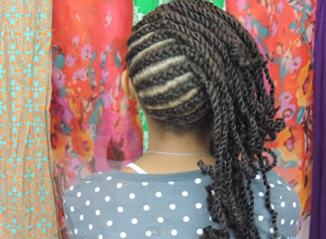 Easy And Creative Cornrows For Little Girl's Natural Hairstyle