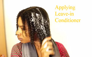 applying leave-in conditioner