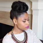 French Braided Bun Updo On Natural Hair