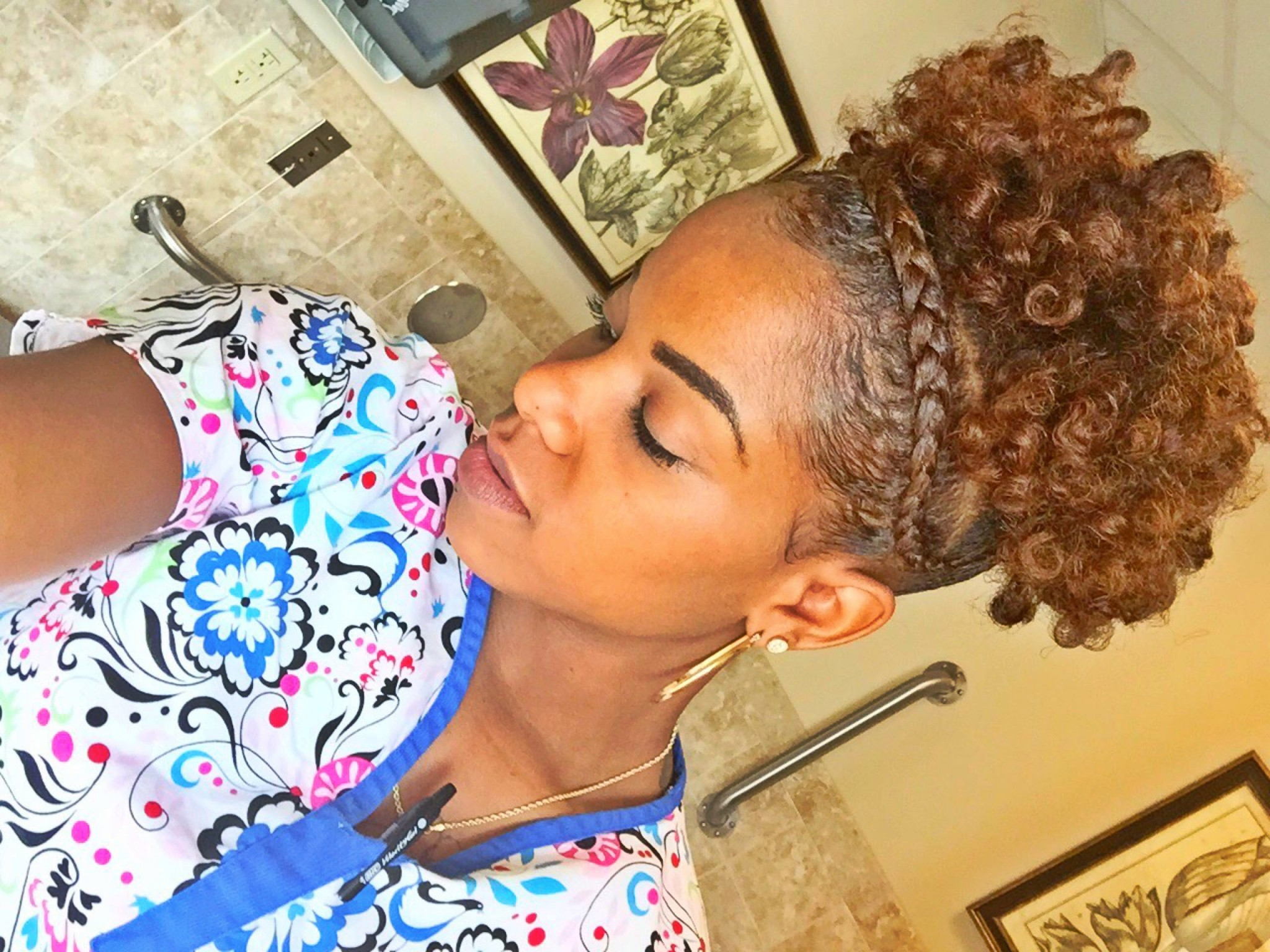 Natural Hair Braid Updo Styles: High Puff On Short Natural Hair With French Braid