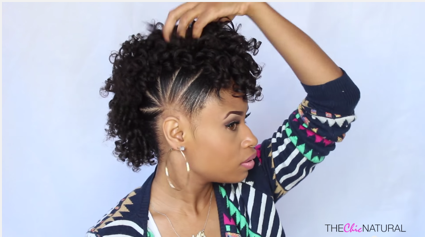Fun Pony Hawk Curly Natural Hairstyle Video Tutorial - Drawstring Ponytail Hairstyles For Black Hair