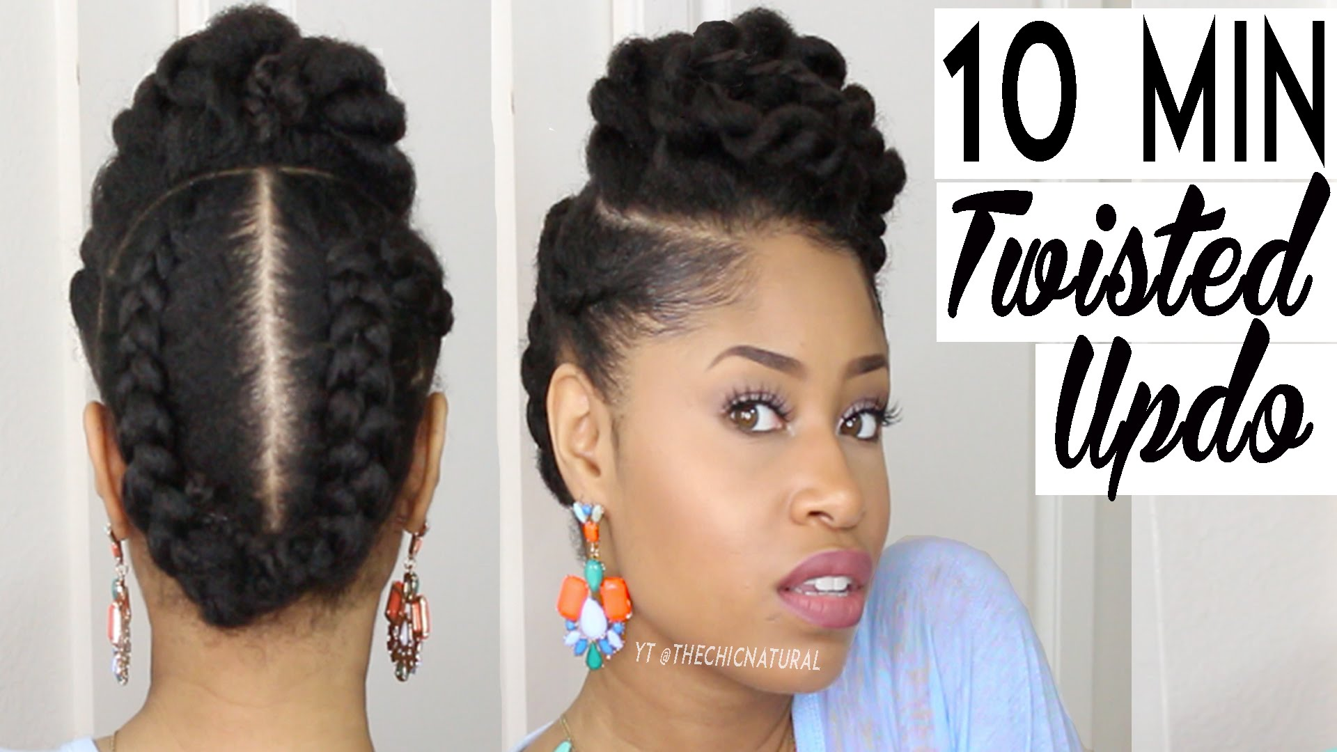 Natural Hair Style: Twisted Natural Hair Protective Updo In 10 Minutes Or Less