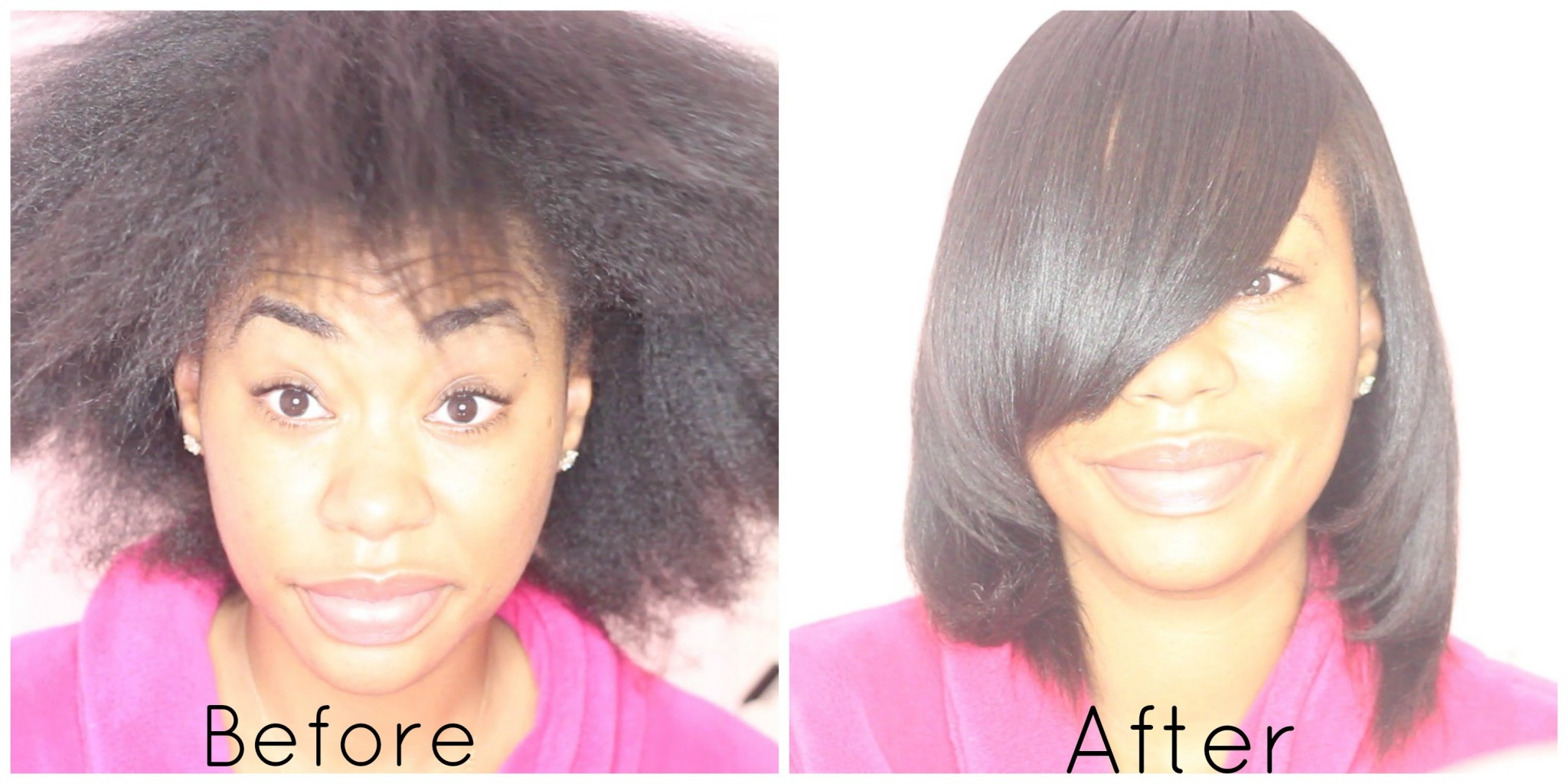 watch the magic of hair transformation after a sleek silk press on