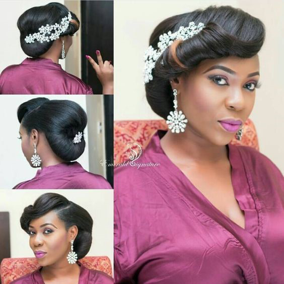 Side Roll Black Wedding Hairstyle