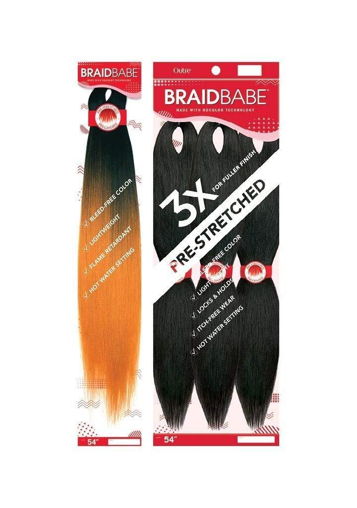 """BRAID BABE PRE-STRETCHED BRAIDING HAIR 3PCS PACK 54"""""""