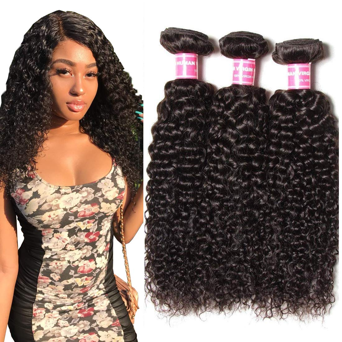 Dinoce Compatible with Longqi Beauty 10A Peruvian Curly Hair 3 Bundles