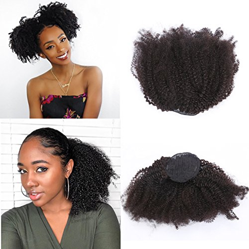 Anrosa Kinky Curly Ponytail 4C Afro Ponytail for Natural Hair Curly Ponytail Hair Piece Kinkys Curly Drawstring Ponytail Afro Kinky Coily Ponytail Clip in Ponytail Extension for Black Women 12 Inch