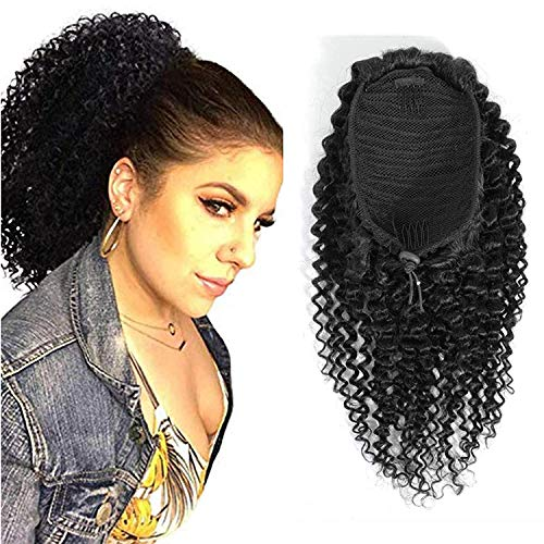 Kinky Curly Drawstring Ponytail Extension Human Hair With Wrap Natural Color For Black Women 3C 4A Kinky Curly Hair Piece Clip in Ponytail Hair Extension(10inch 100gram)