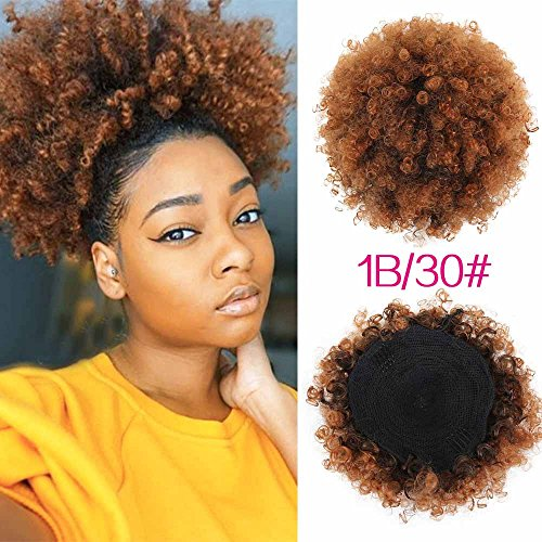 LEOSA High Puff Afro Ponytail Drawstring Short Afro Kinky Curly Pony Tail Clip in on Synthetic Curly Hair Bun Made of Kanekalon Fiber Puff Ponytail Wrap Updo Hair Extensions with Clips (T1B/30)