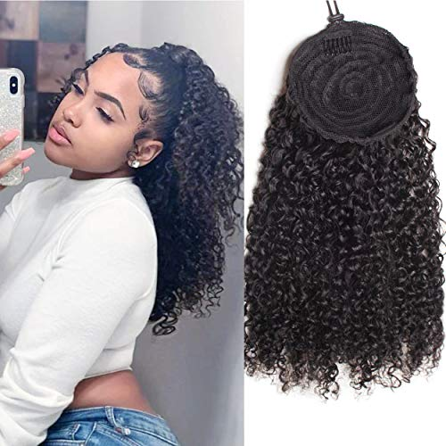 WENYU Kinky Curly Human Hair Drawstring Ponytail For Black Women 8A Brazilian Virgin Kinkys Curly Clip In Ponytail Extension Human Hair Pieces Natural Black (18 Inch , Kinky Curly Drawstring Ponytail)